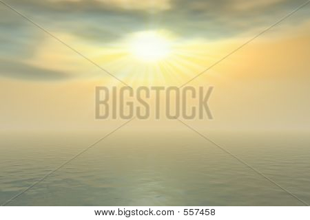 Golden Sunrise And Fog