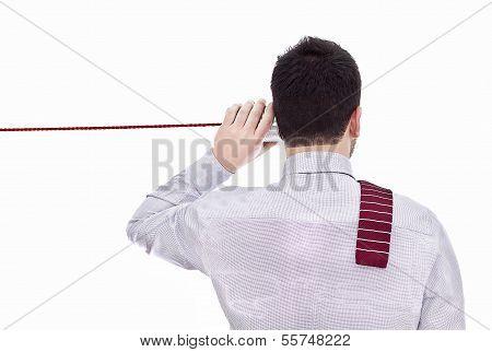 Man Talking On A White Background
