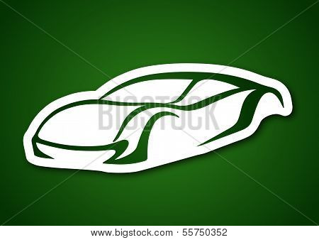 Sport auto vector over green paper