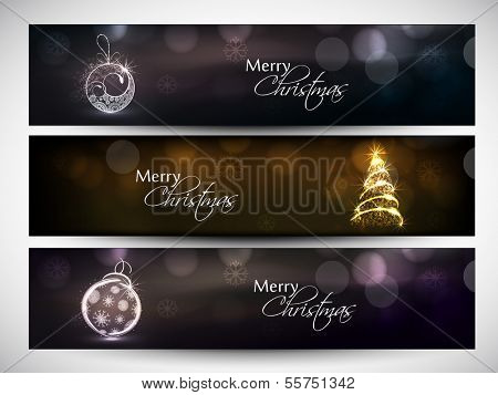 Website header or banner set design for Happy New Year 2014 celebration with shiny Xmas ball and Xmas tree on brown background.  poster