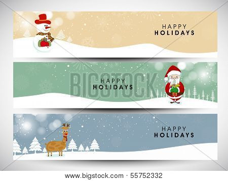 Website header or banner set design for Merry Christmas celebration with Snowman, Santa Claus and reindeer on winter background.  poster