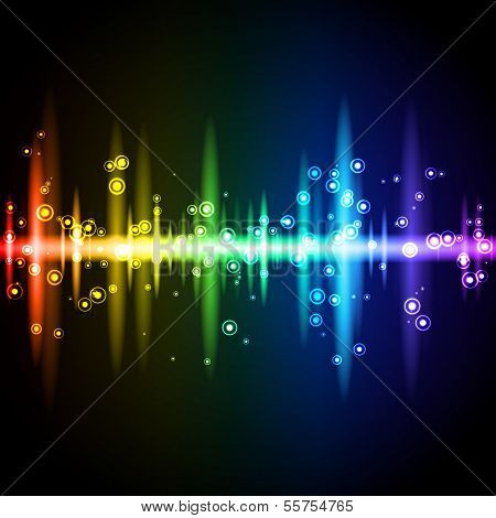 Neon rainbow sound wave equalizer with sparkling particles. Vector illustration on black background. poster
