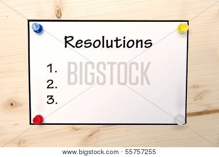 New Year Resolutions Note In Blank
