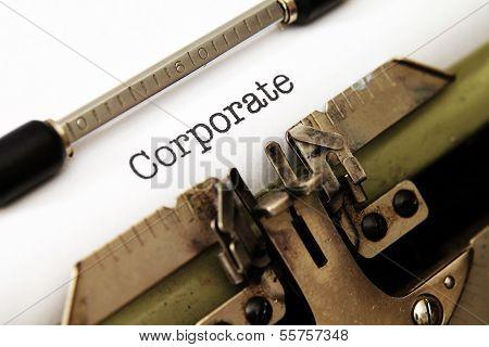 Corporate Text On Typewriter