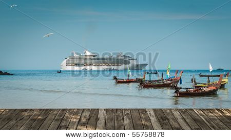 Scenery Of Patong Beach With Long Tail Boats And Luxury Cruise, Thailand