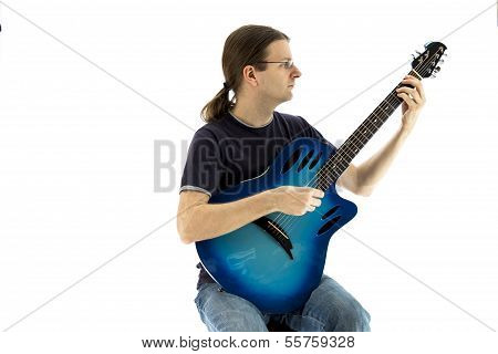 Guitarist Playing An Electroacoustic Guitar, Front View