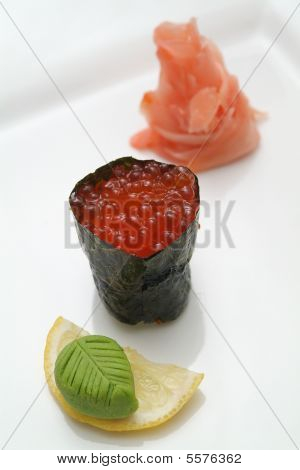 Traditional the Japanese meal sushi on a white background poster