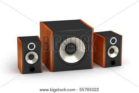 2.1 brown wood sound systems speakers with subwoofer on white background poster