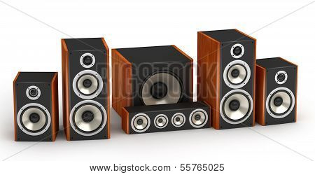 Set of red wooden speakers for home theater 5.1 hi-fi audio system on white background poster