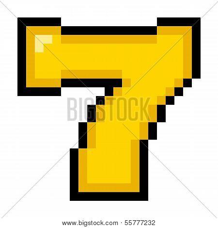 8-bit Pixel Art Lucky Number Seven