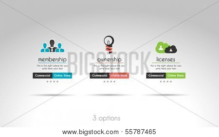 Quality clean web elements for blog and sites. 3 choice menu