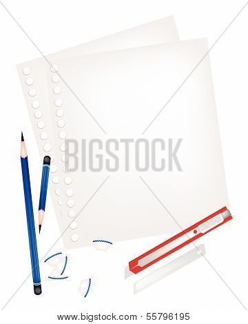 Two Pencils And Knife With Blank Page