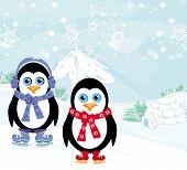 ice skating penguins on winter landscape , vector illustration poster