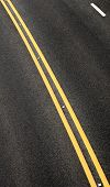 blacktop with double yellow line divider vertical poster