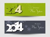 Website header or banner set design for Happy New Year 2014 celebration with stylish text on green and grey background. poster
