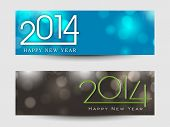 Website header or banner set design for Happy New Year 2014 celebration with stylish text on blue and green background.  poster