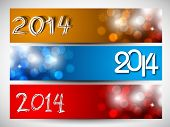 Website header or banner set design for Happy New Year 2014 celebration with stylish colorful text.  poster
