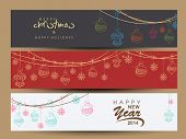 Website header or banner set design for Happy New Year 2014 and Merry Christmas celebration with hanging decorative.  poster