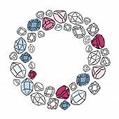 wreath shaped colorful beautiful shining crystals diamonds precious stones beauty fashion illustration isolated elements on white background poster