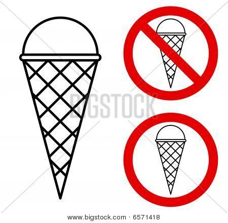 Ice cream prohibition sign