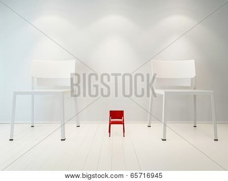 Concept picture of litte red chair vs huge white chair