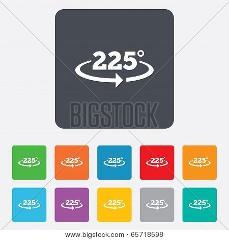Angle 225 degrees sign icon. Geometry math symbol. Rounded squares 11 buttons. Vector poster