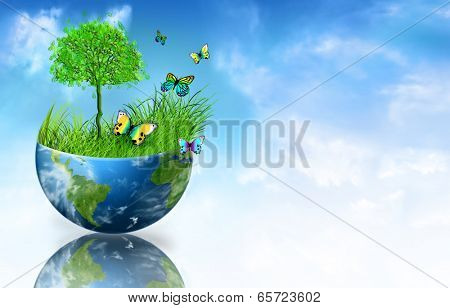 Environmental Concept. Globe. Tree, grass and butterflies on half the globe