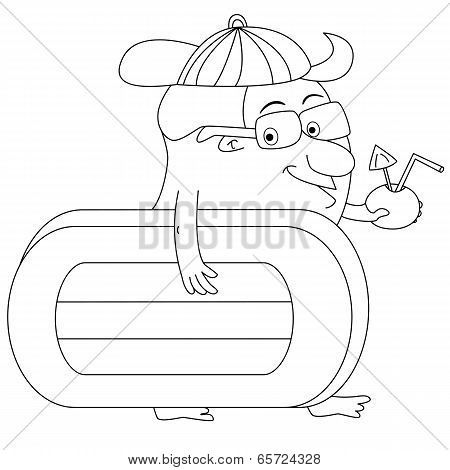 Cartoon Man Heading For Beach With Airbed And Drink