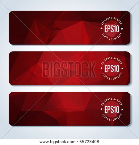 Red website header or banner set with triangle pattern