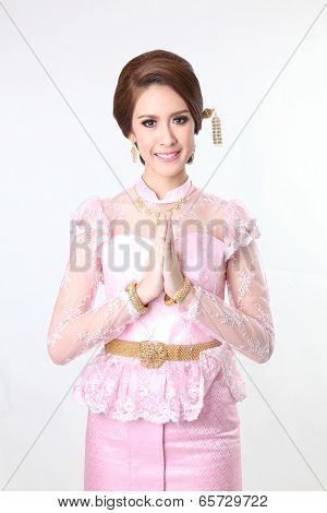 beautiful asian woman with welcome expression