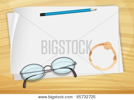 Illustration of an empty bondpaper with a pencil, an eyeglass and a coffee stain