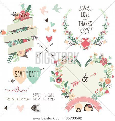 Vintage Flowers Wedding invitation design elements- Illustration