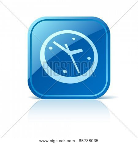 Clock icon on blue web button