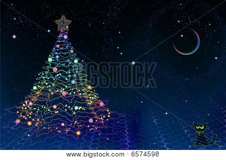 Quantum physics christmas card (including fractal fir-tree, Schrodinger's cat and spectral moon) poster