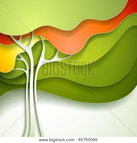 Summer tree. Abstract paper nature background.