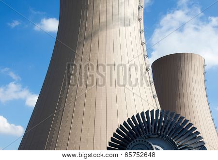 Steam Turbine Against A Nuclear Power Plant