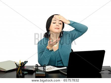 Middle aged businesswoman had a headache during the difficult online conversations with Skype poster