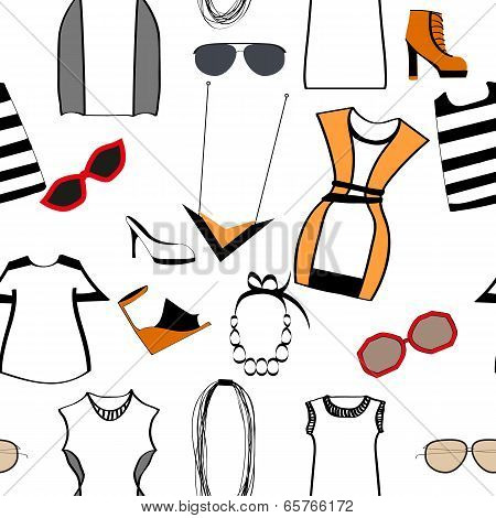 clothing and accessories seamless pattern