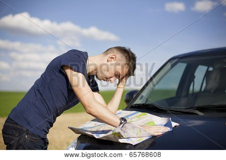 Reading The Map - Stock Image