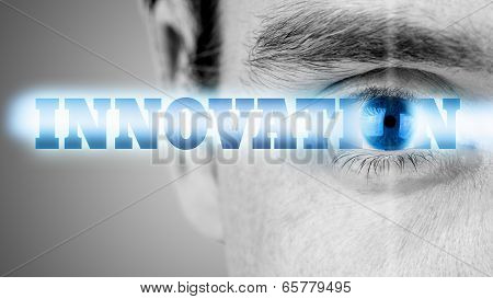 Futuristic image with word Innovation using human eye as the letter o. poster