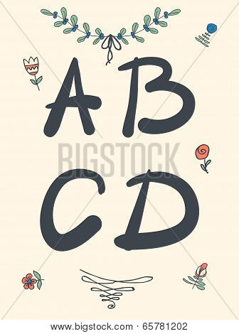 Hand drawn sketch alphabet. Handwritten font.