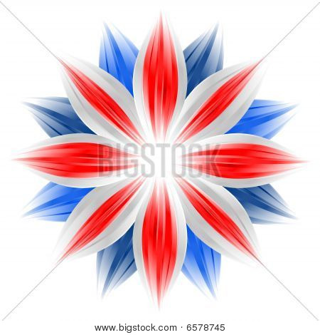 Flower With British Flag Colors On White Background