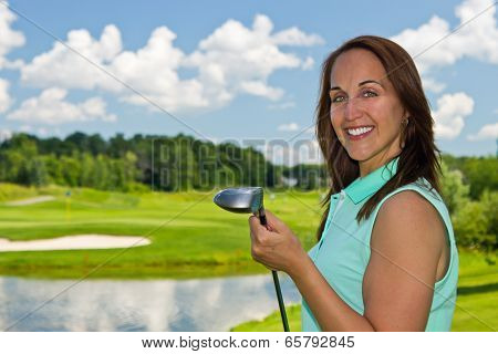 Attractive Woman At The Golf Course