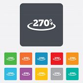 Angle 270 degrees sign icon. Geometry math symbol. Rounded squares 11 buttons. Vector poster