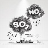 Vector Illustration of Acid Rain Formation. poster