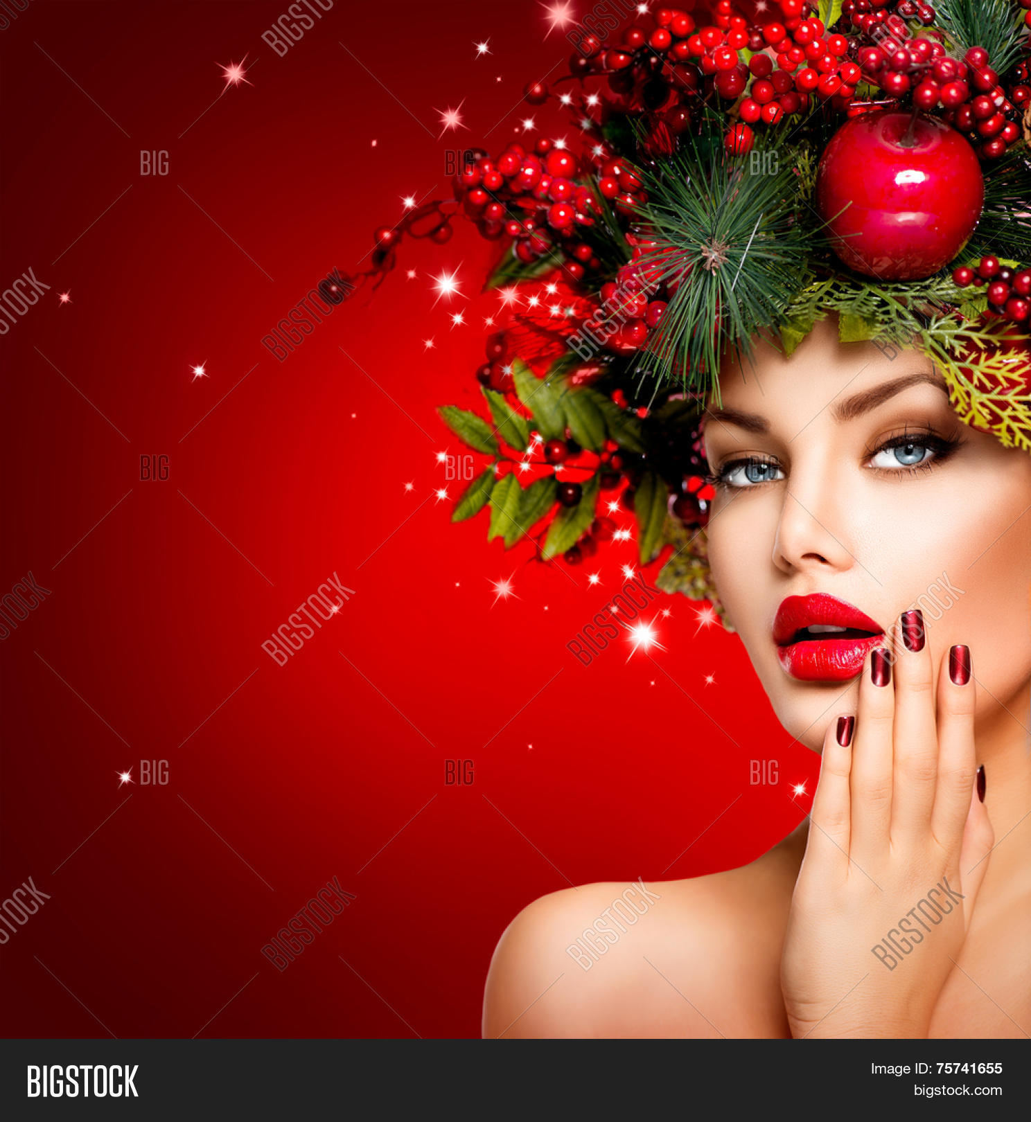 Christmas Model.Christmas Winter Woman Image Photo Free Trial Bigstock