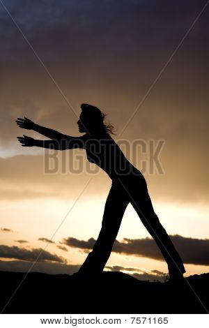 Silhouette Woman Stretch