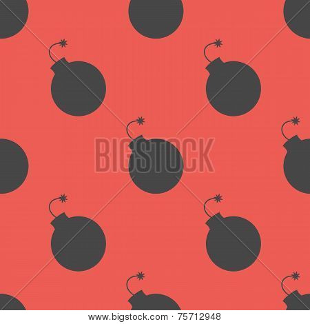 Seamless pattern with bombs. Vector illustration.