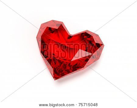 3d rendered illustration of a heart shaped ruby