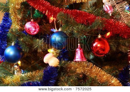 Toys On New Year Firtree